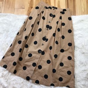 Who What Wear Polka Dot Button Skirt - Pockets